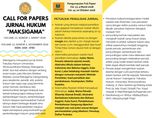 CALL FOR PAPERS JURNAL MAKSIGAMA 2018